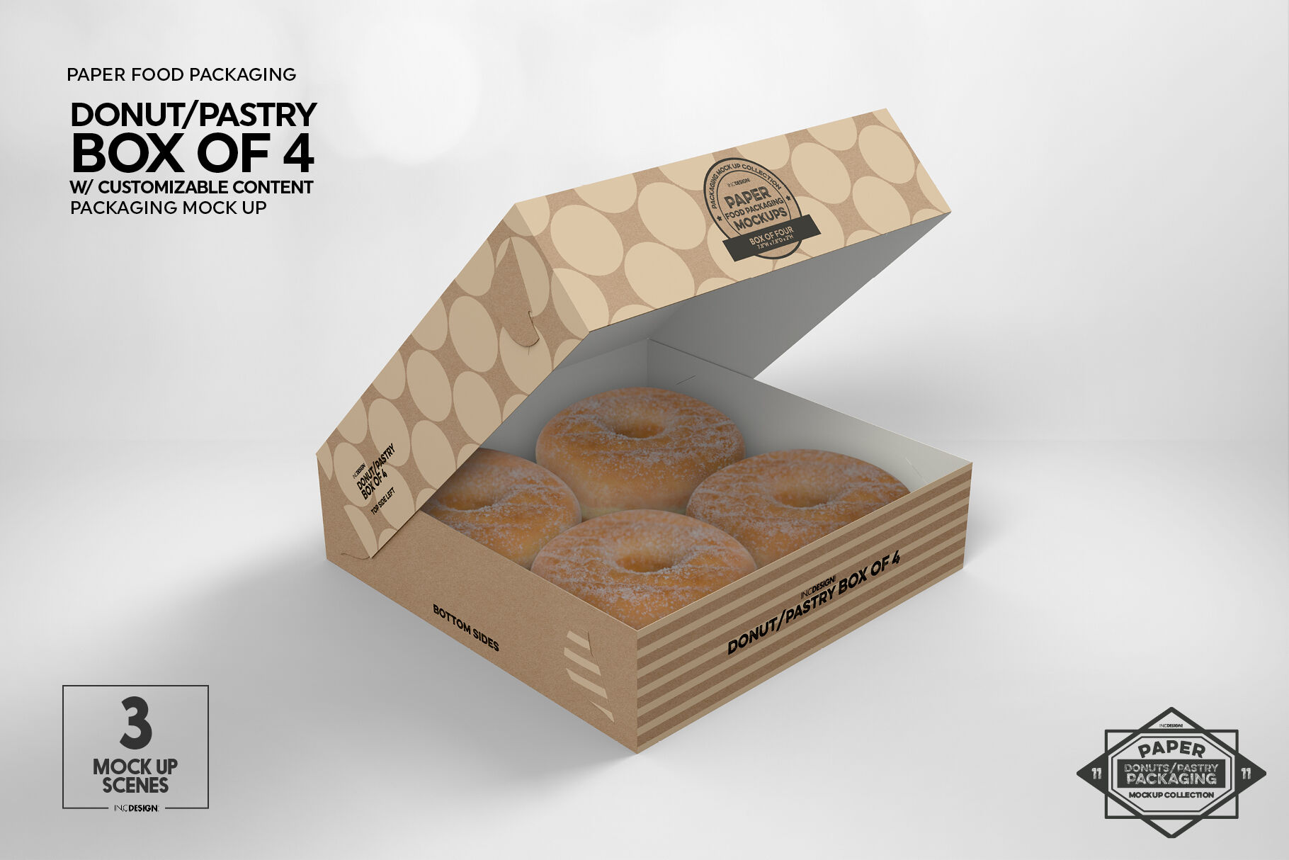 Download Box Of Four Donut Pastry Box Mockup By Inc Design Studio Thehungryjpeg Com