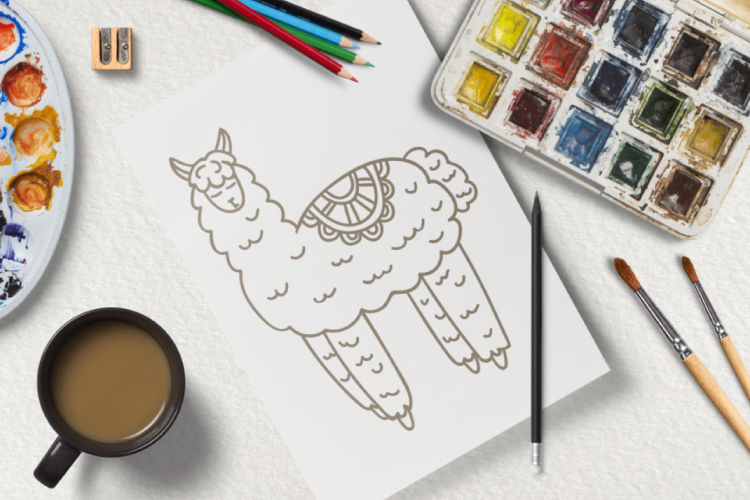 Llama and flowers clipart set. Floral digital stamps. No ...