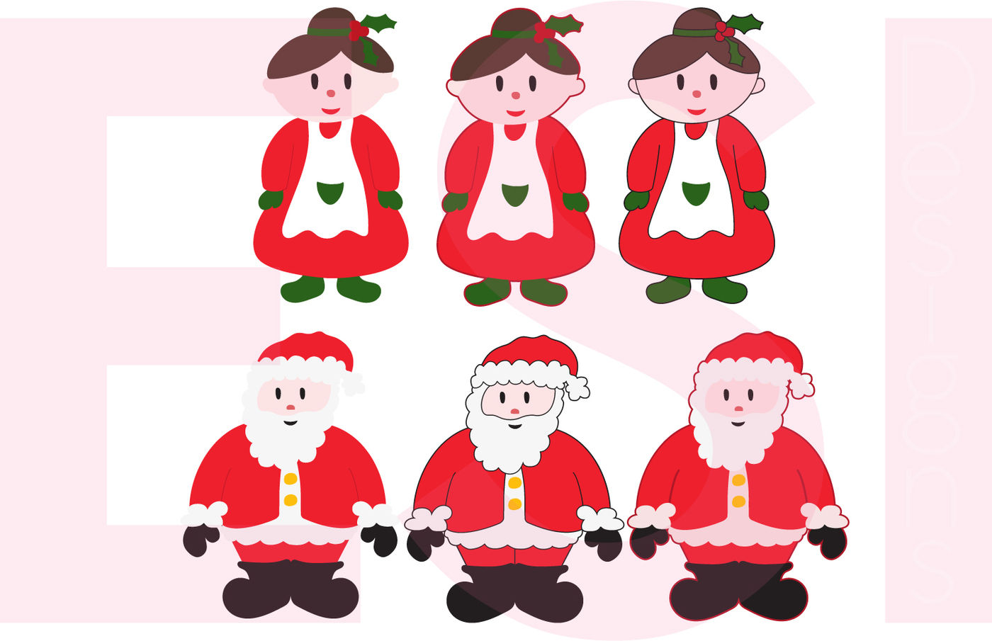 Download Santa And Mrs Claus Design Set – Svg, Dxf, Eps, Png Cutting Files. Image