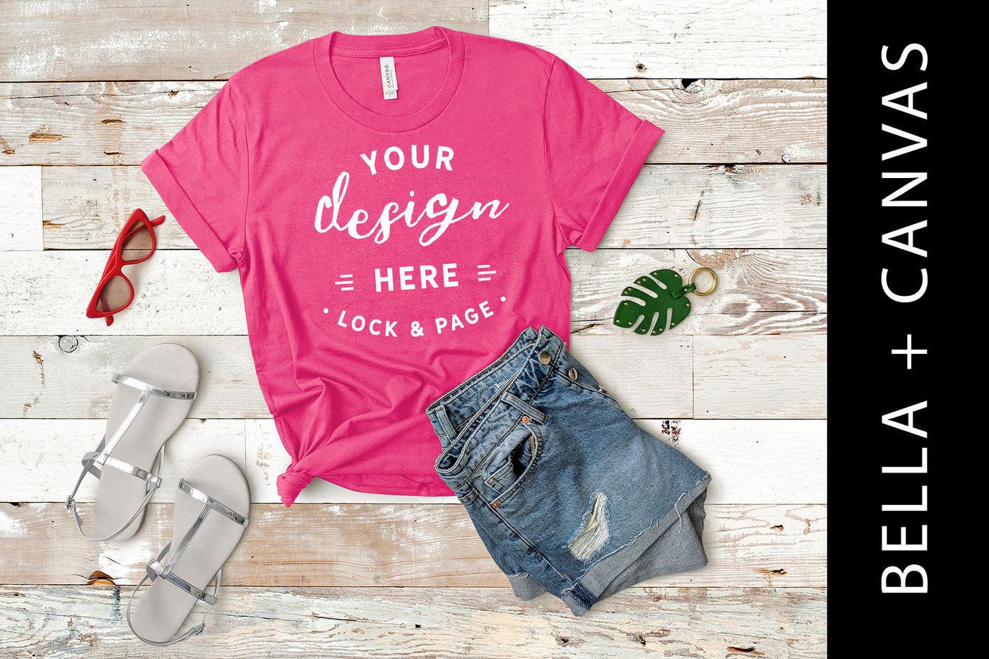 9523b253375b2 Charity Pink Bella Canvas 3001 T Shirt Mockup Girls Fashion Flat Lay ...