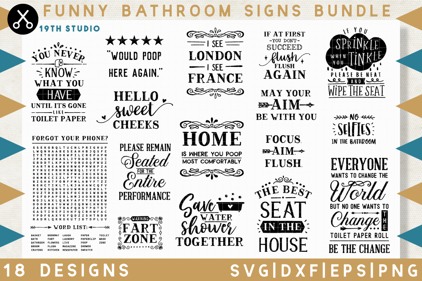 Funny Bathroom Signs Svg Bundle M32 By 19th Studio