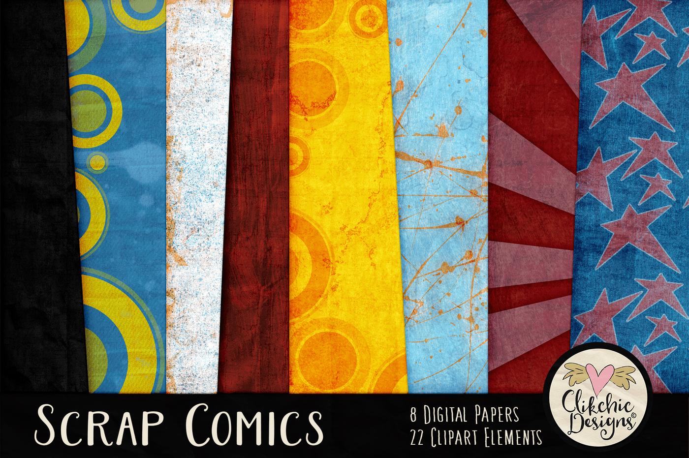 Scrap Comics Digital Scrapbook Kit By Clikchic Designs