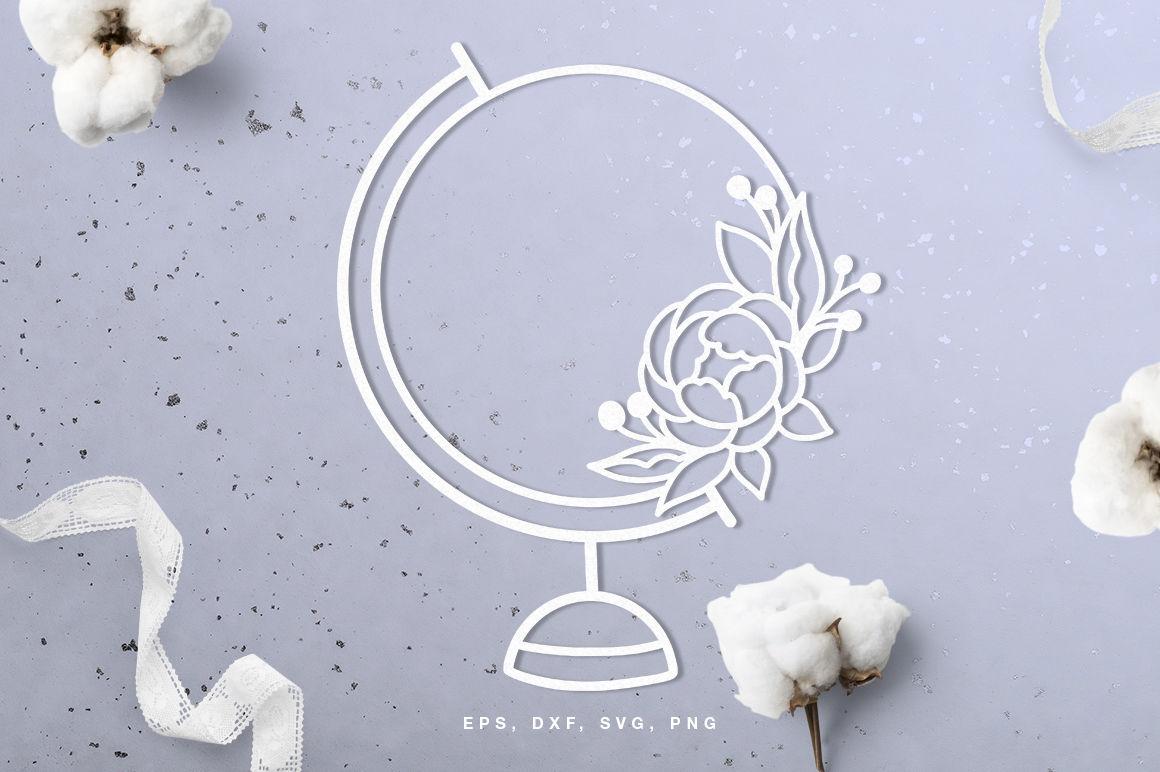 Floral World Globe Digital Cut File Svg Dxf Png Eps By Inna
