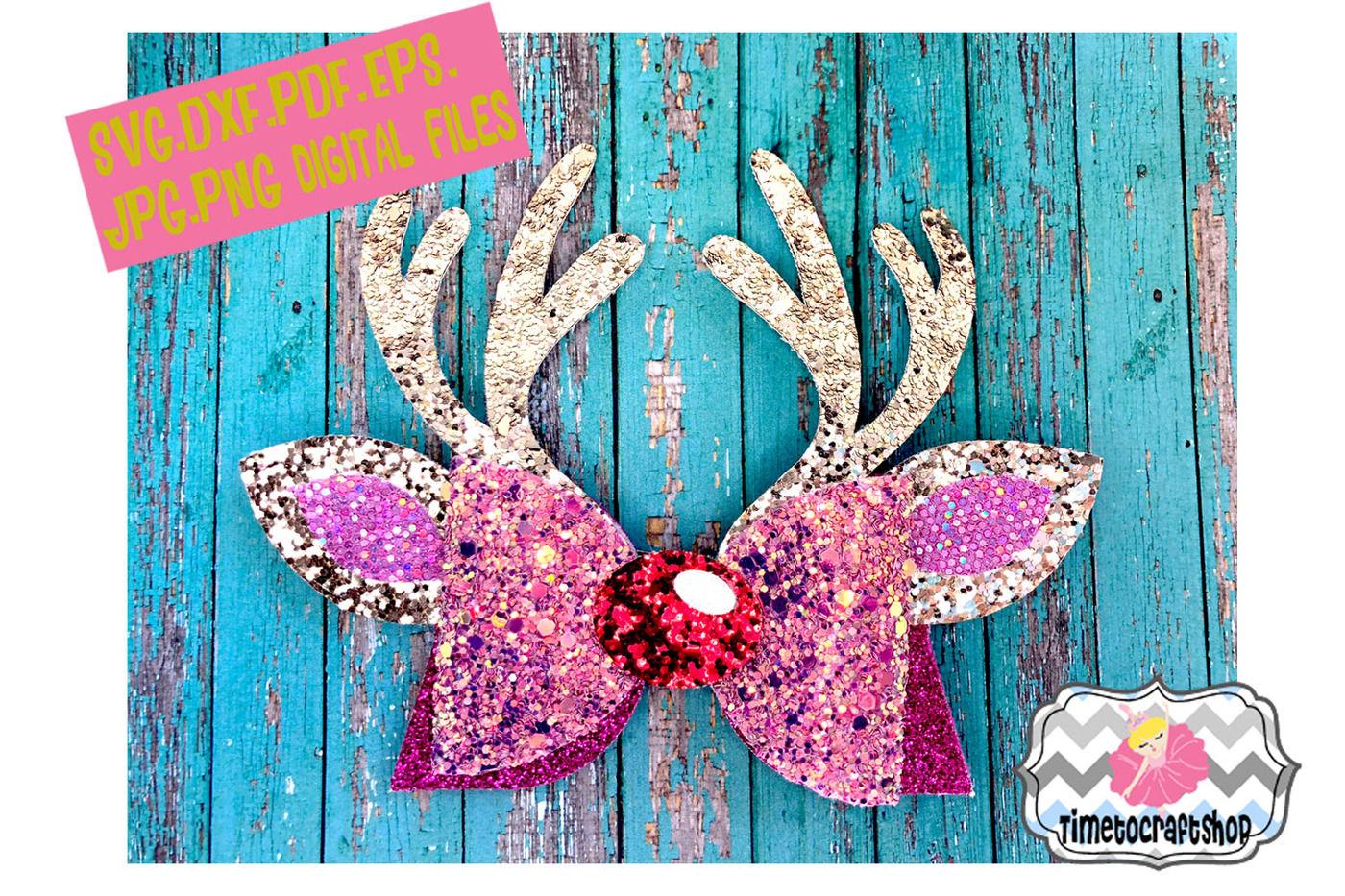 Reindeer Antler Hair Bow Template Svg Dxf Pdf Eps Jpg By