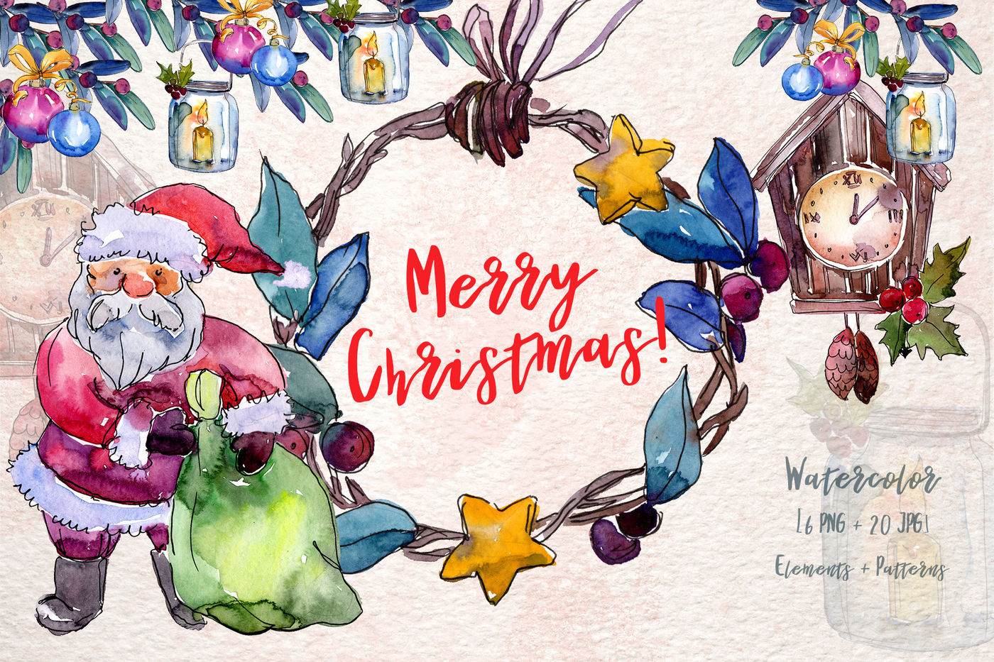Merry Christmas Holiday Png Watercolor Set By Mystocks