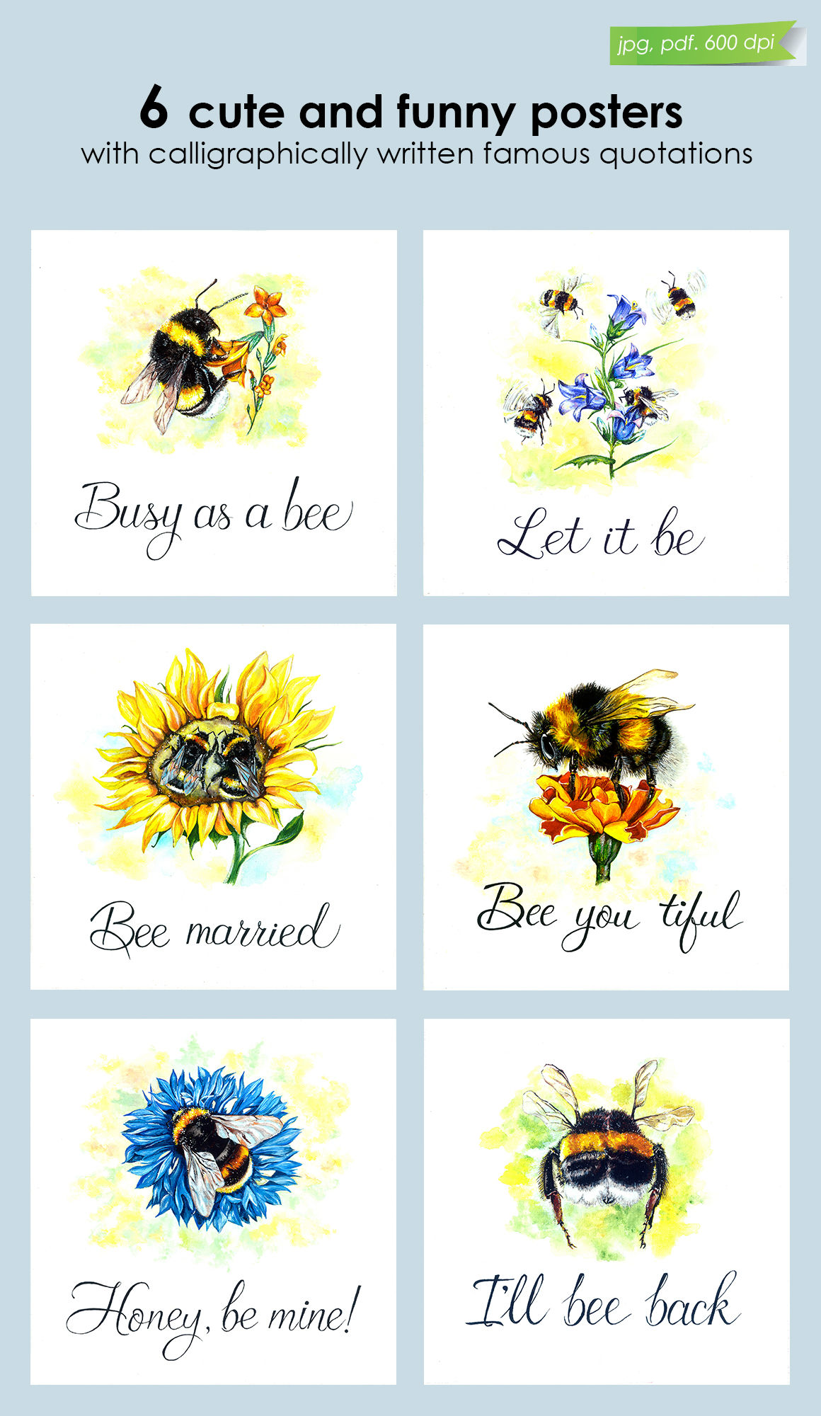 Lovely Bumblebee Set Of Posters By Tiana Art Thehungryjpeg Com