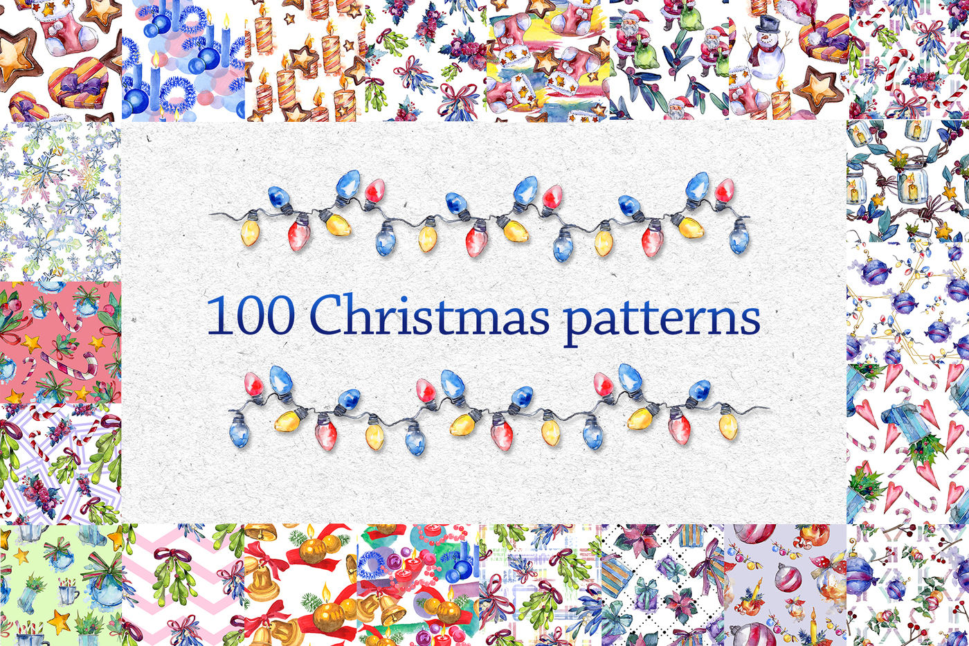 100 Patterns Of Christmas Jpg Watercolor Set By Mystocks