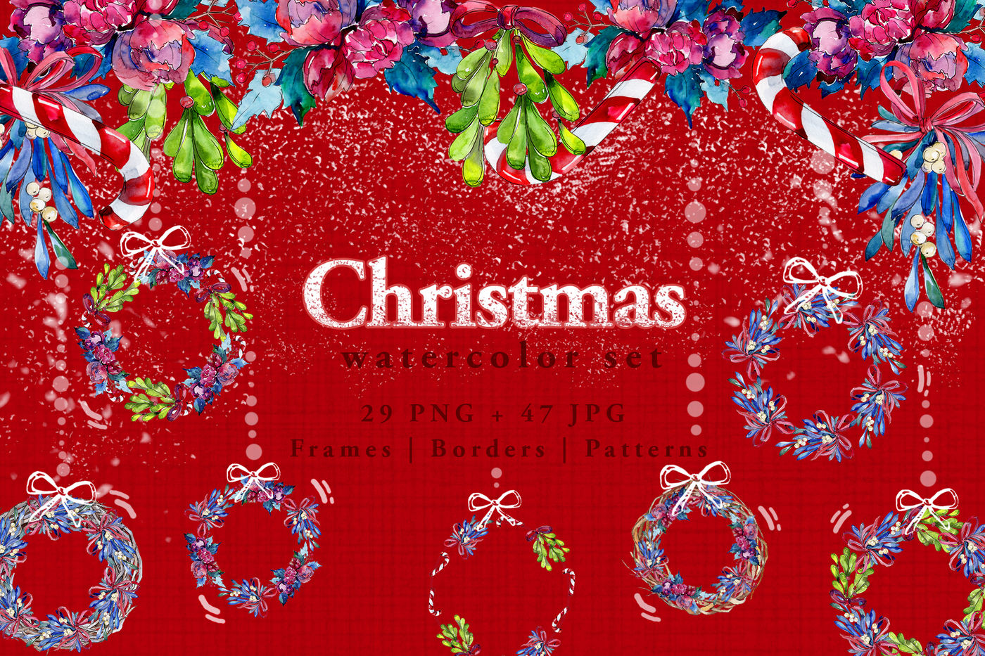 Christmas Winter Holiday Png Watercolor Set By Mystocks