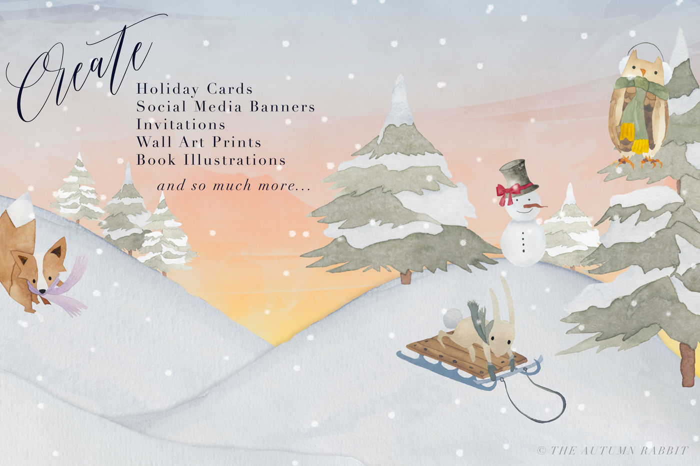 Scene Creator Clipart A Watercolor Winter By The Autumn Rabbit