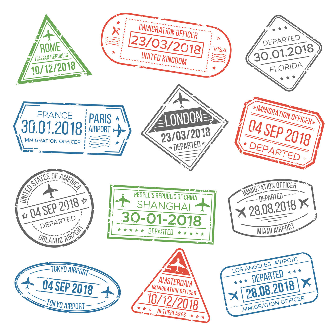 Visa Travel Cachet Passport Signs Or Airport Stamps With Framing