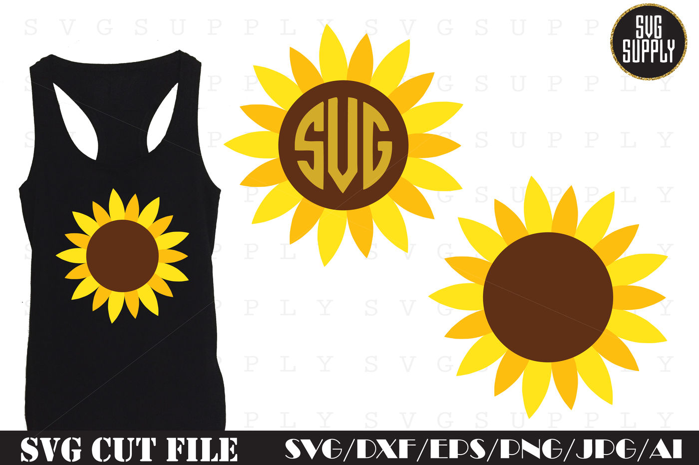 Sunflower Svg Cut File By Svgsupply Thehungryjpeg Com