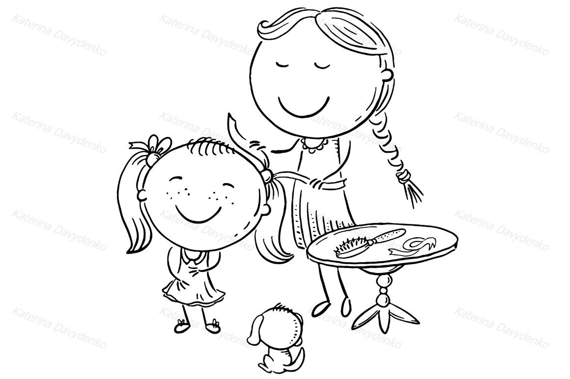 Happy Mother Combing Her Daughter S Hair Cartoon Graphics By Optimistic Kids Art Thehungryjpeg Com