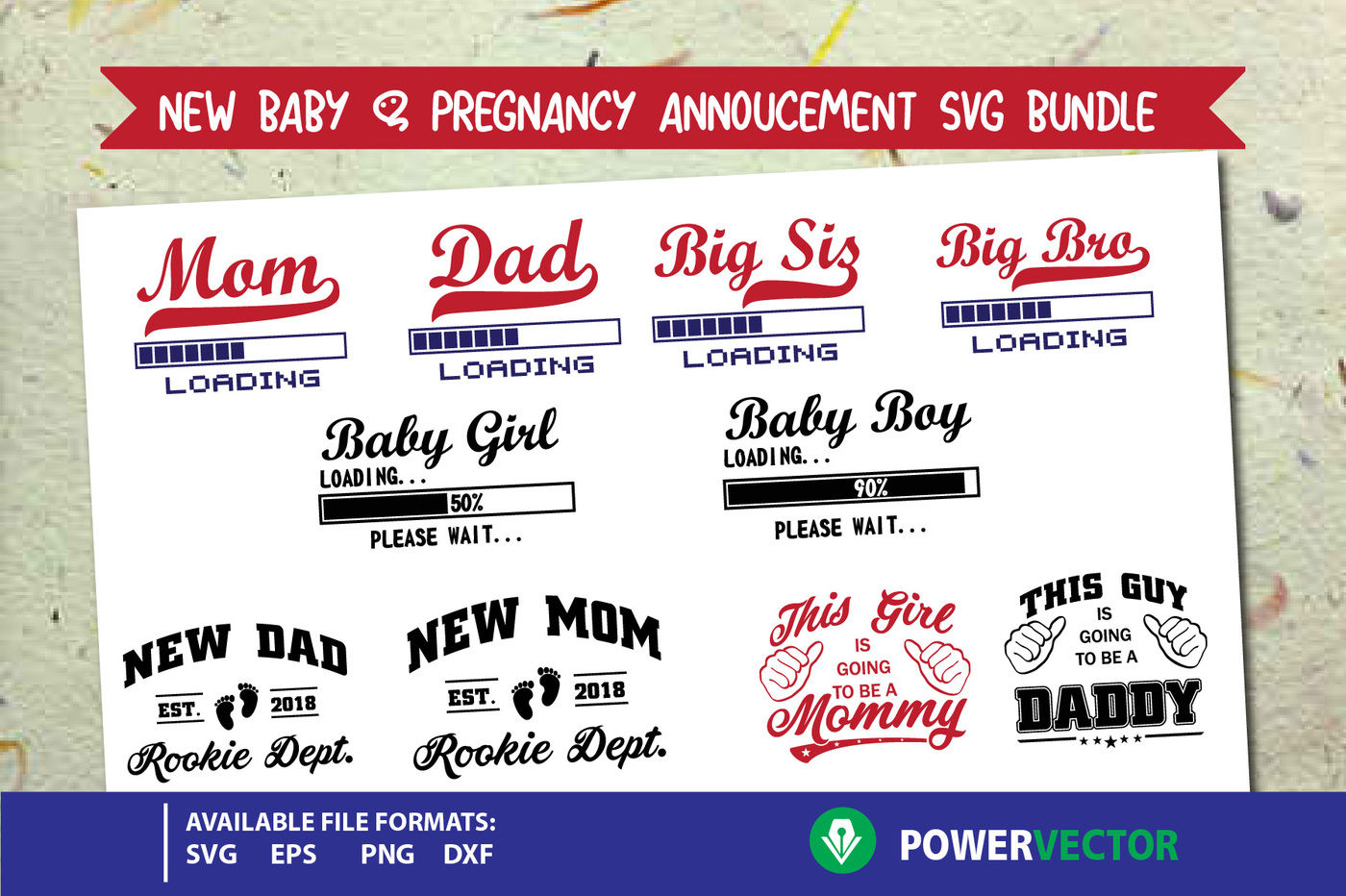 New Baby Pregnancy Announcement Svg Dxf Eps Png Bundle By