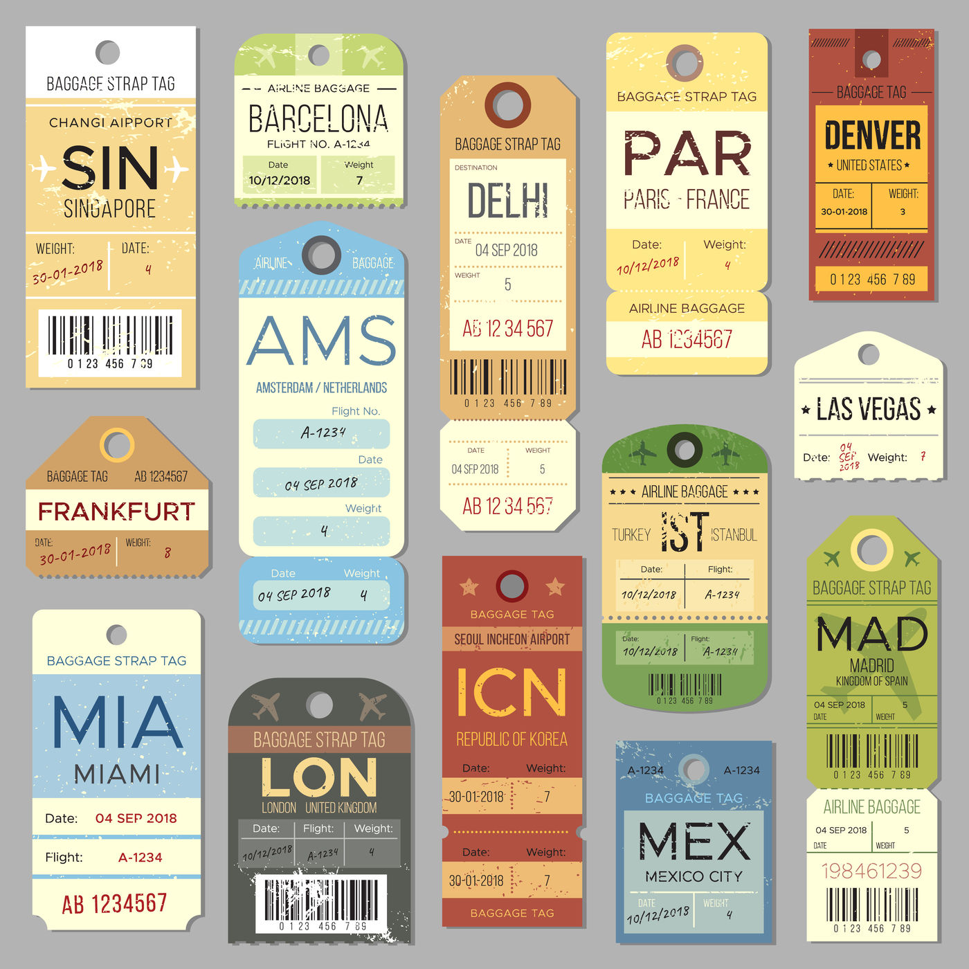 Old Luggage Tag Or Label With Flight Register Symbol Isolated