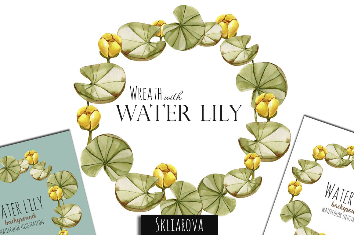 Watercolor Water Lily Wreath By Happywatercolorshop