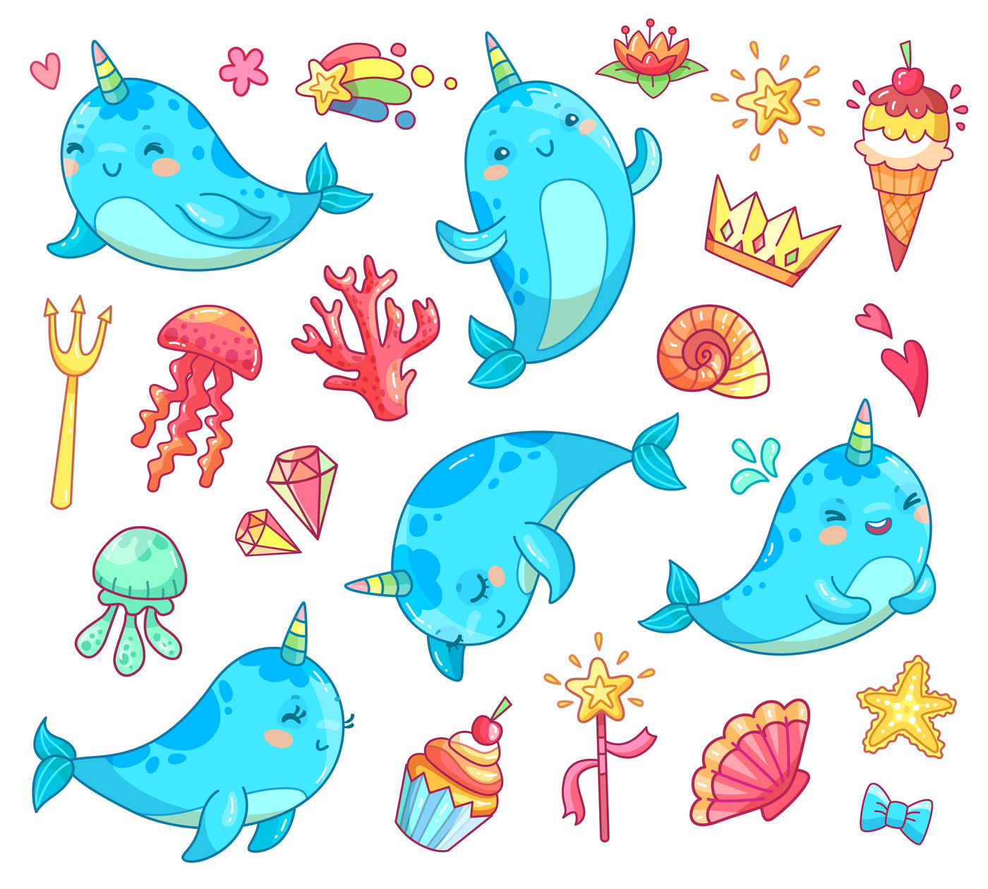 Marine Kawaii Baby Unicorn Narwhal Swimming Blue Funny Anime