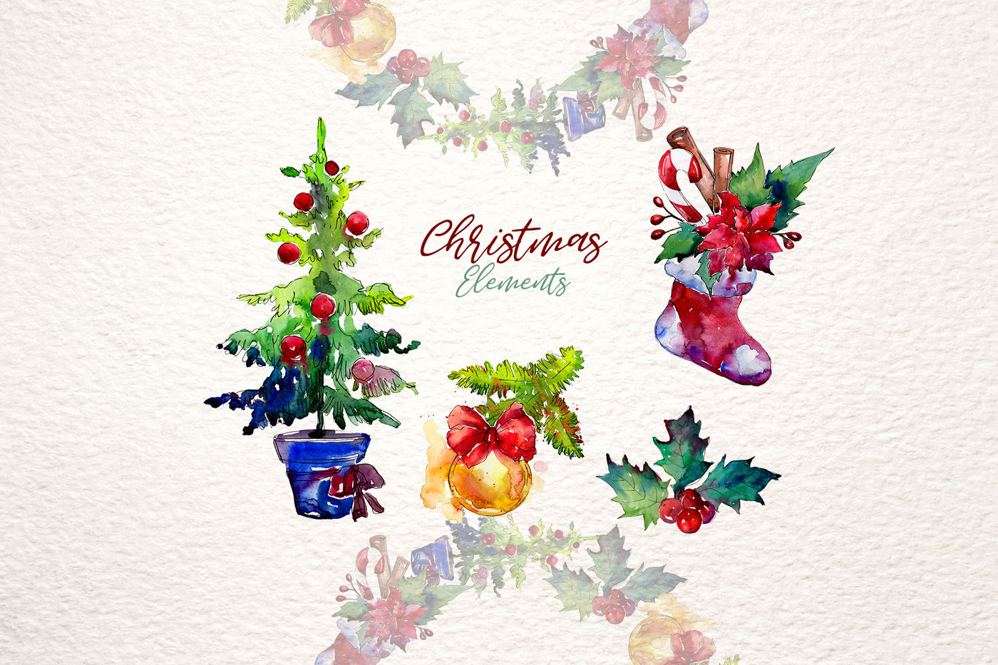 Christmas Collection Png Watercolor Set By Mystocks