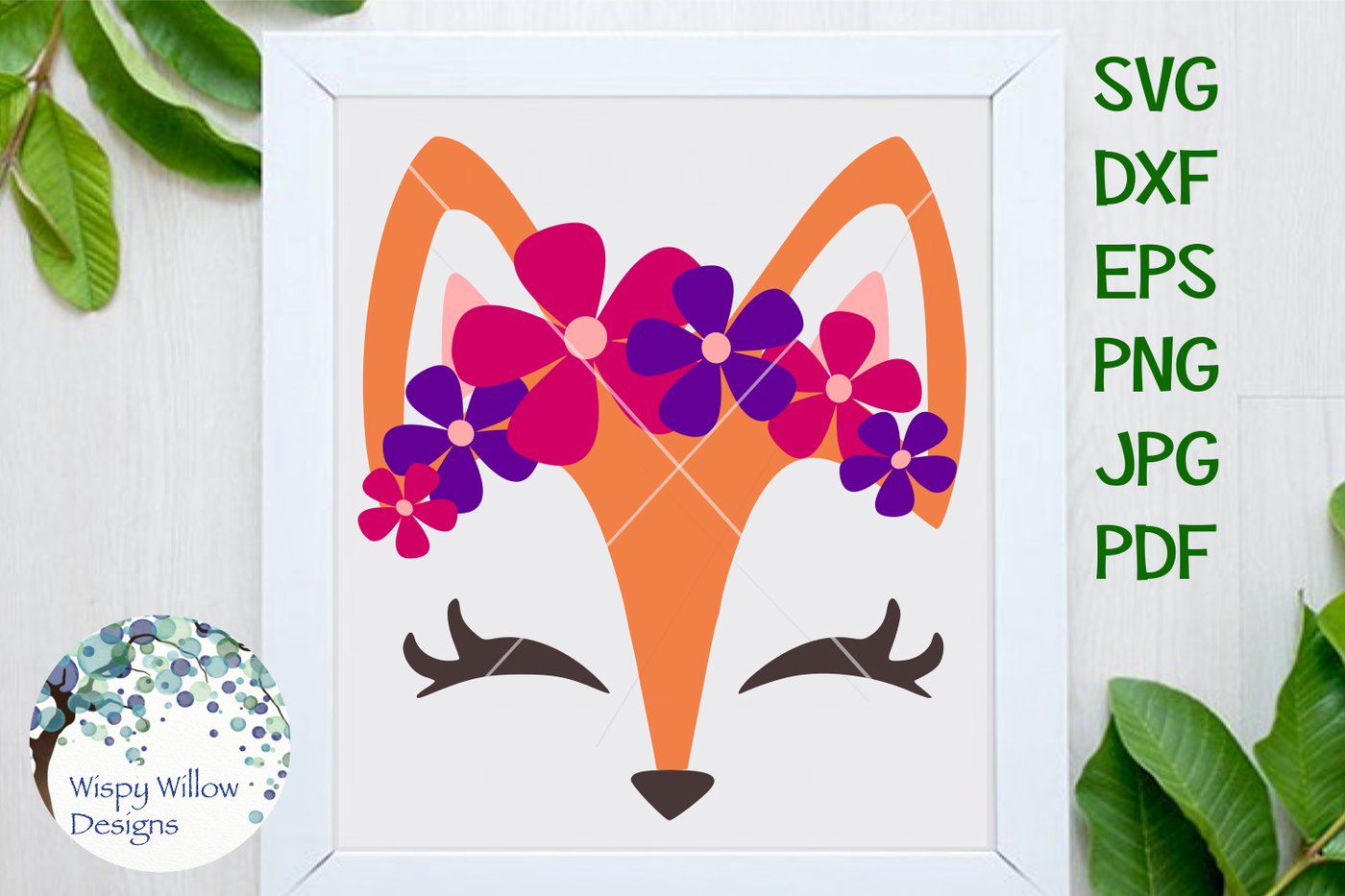 Girly Fox Floral Headband By Wispy Willow Designs Thehungryjpeg Com
