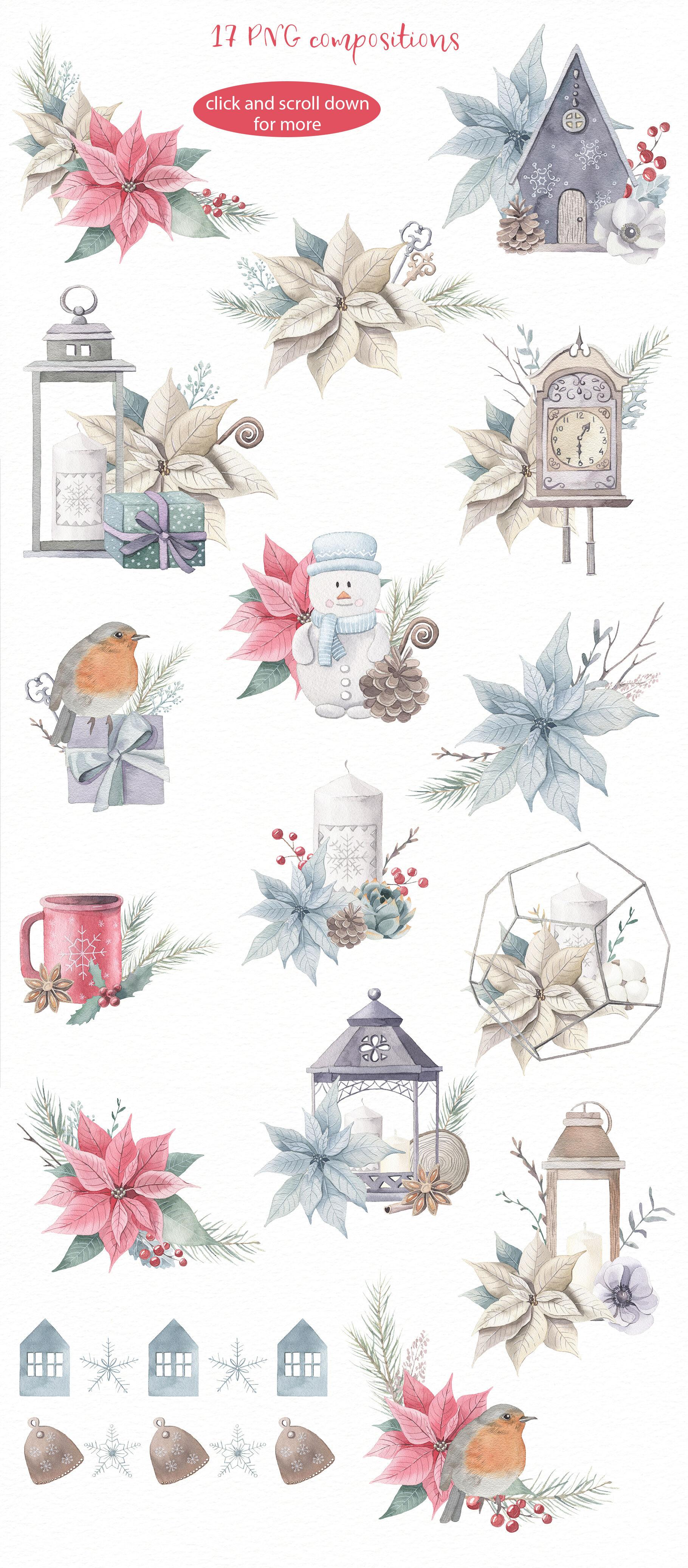 Christmas Dreams Watercolor Set By Alesya Pytskaya Illustrations