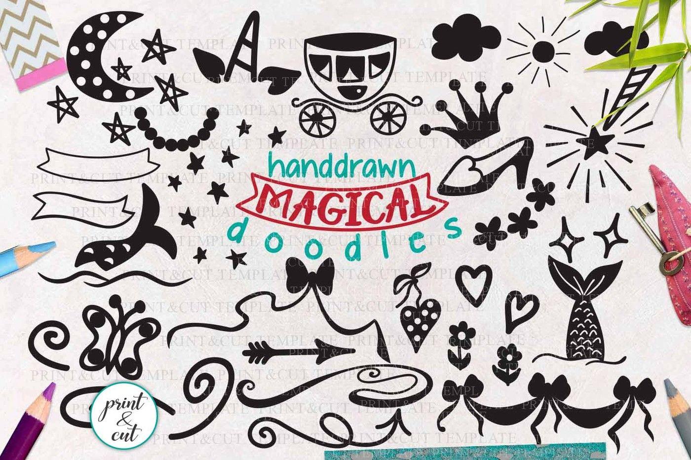 Magical Unicorn Mermaid Princess Doodles Bundle Svg Cutting