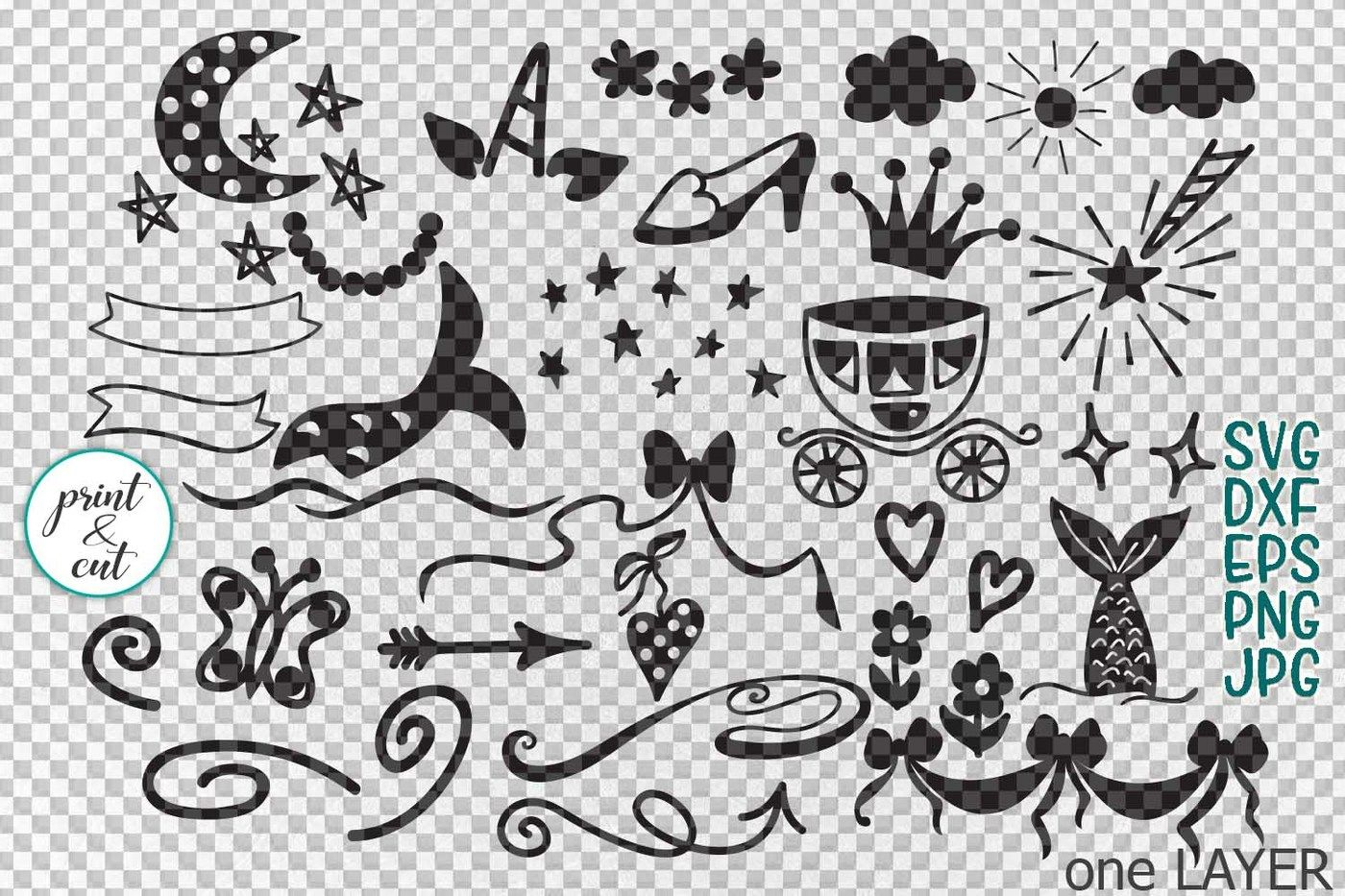 Magical Unicorn Mermaid Princess Doodles Bundle Svg Cutting
