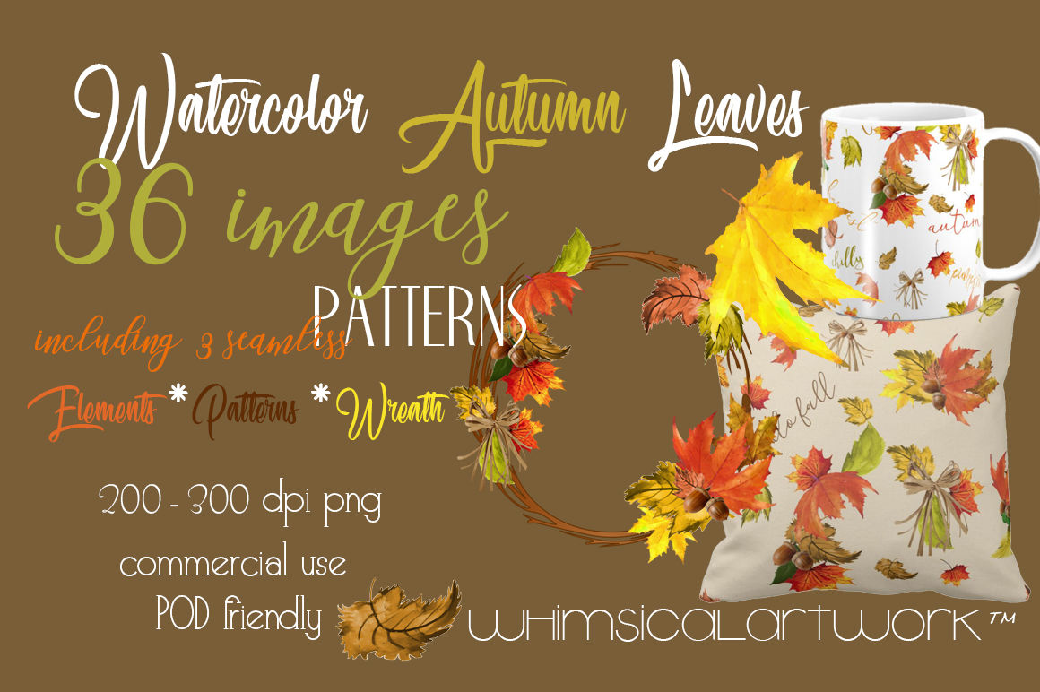 Watercolor Autumn Leaves By Whimsicalartwork Thehungryjpeg Com