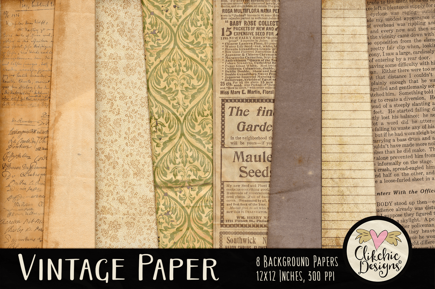 Vintage Paper Background Textures By Clikchic Designs