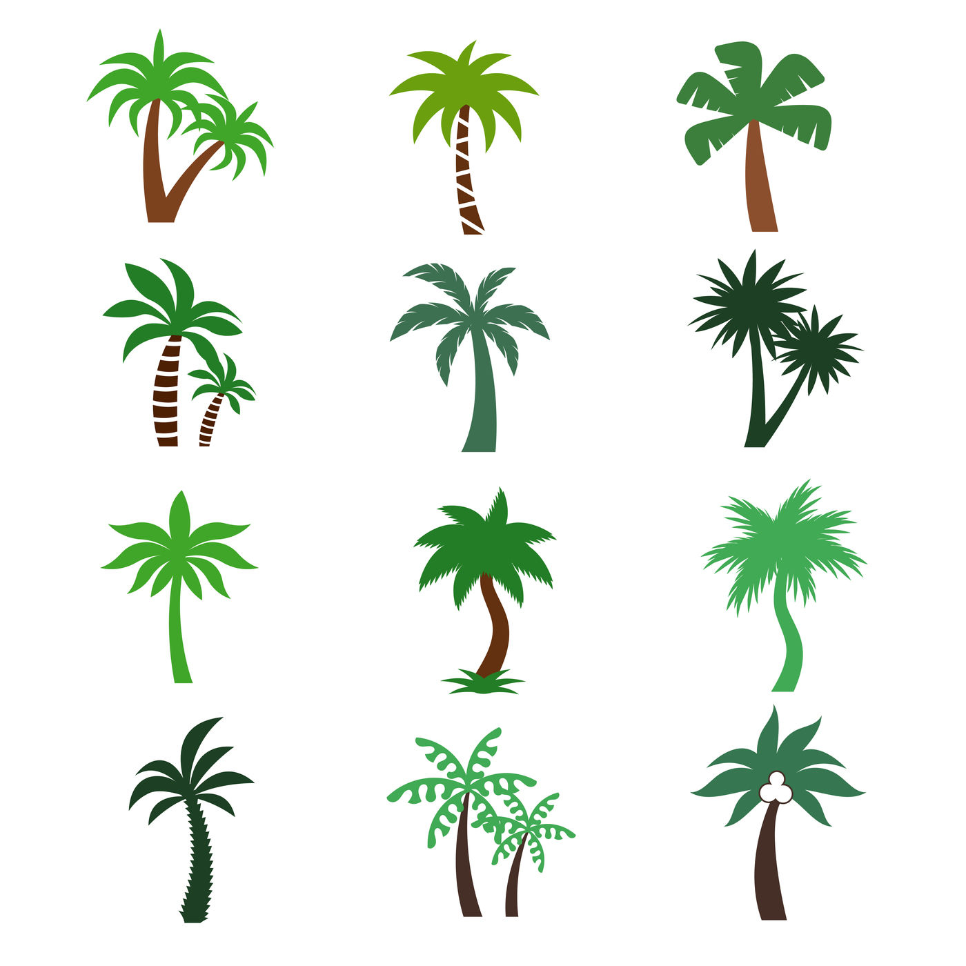 Color Palm Trees Vector Silhouettes By Microvector Thehungryjpeg Com