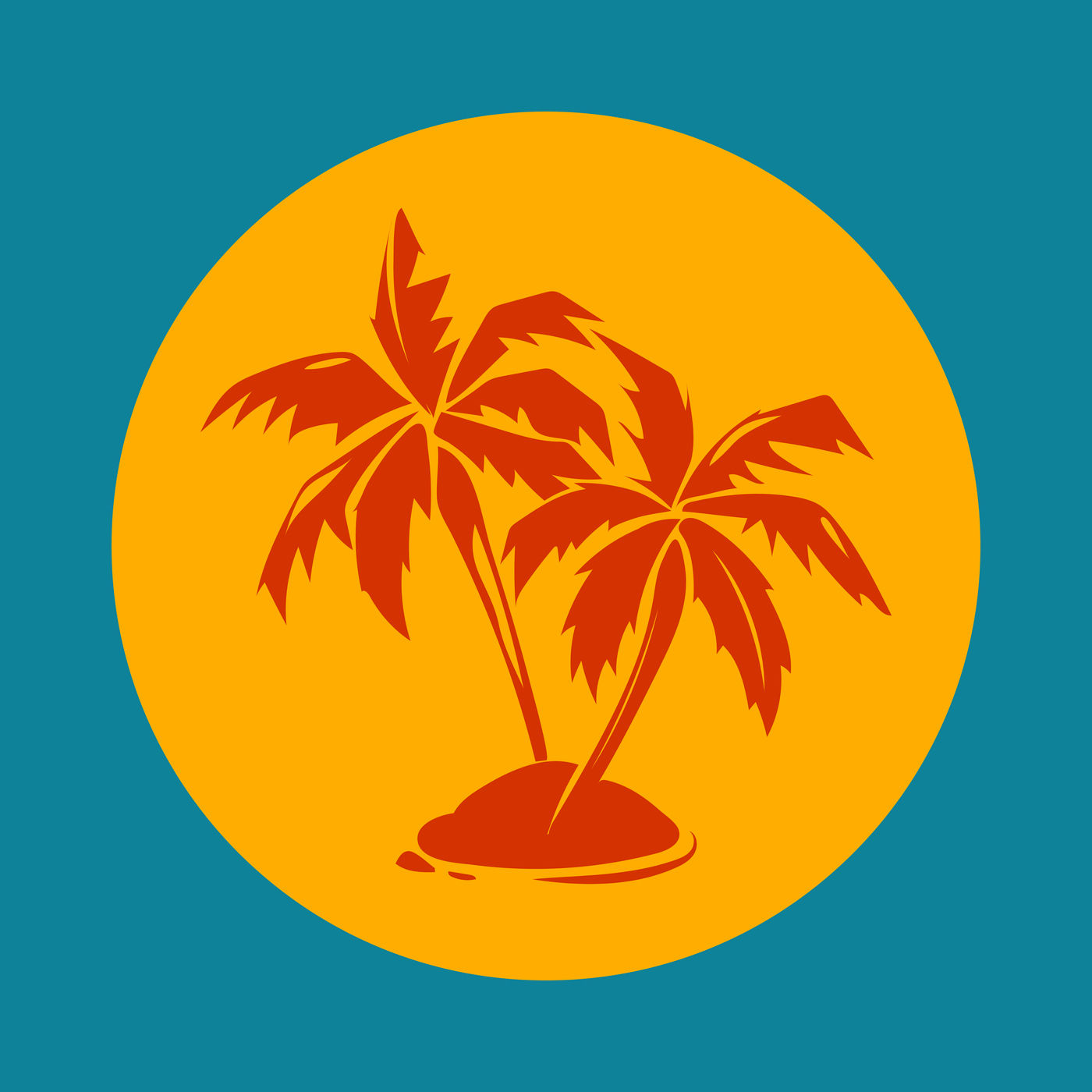 Tropical Paradise Palm Trees And Sun Logo By Microvector