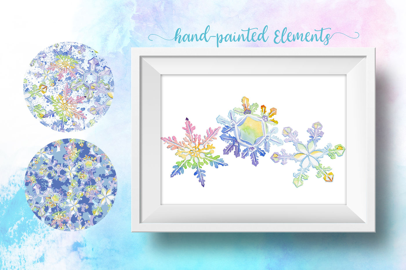 Nice Snowflakes Png Watercolor Set By Mystocks Thehungryjpeg Com