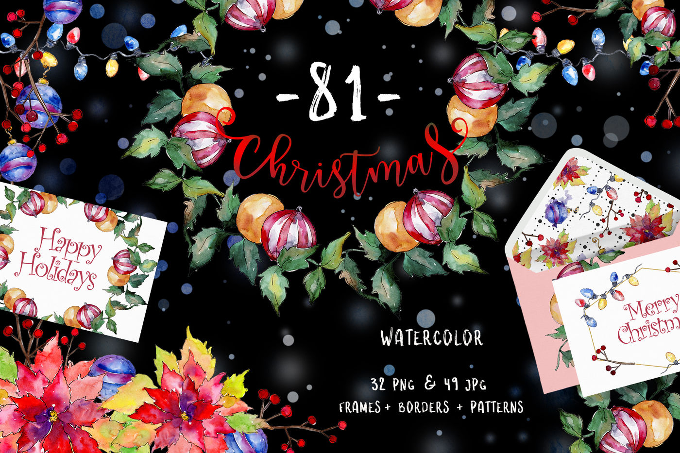 Christmas Happy Holiday Png Watercolor Set By Mystocks