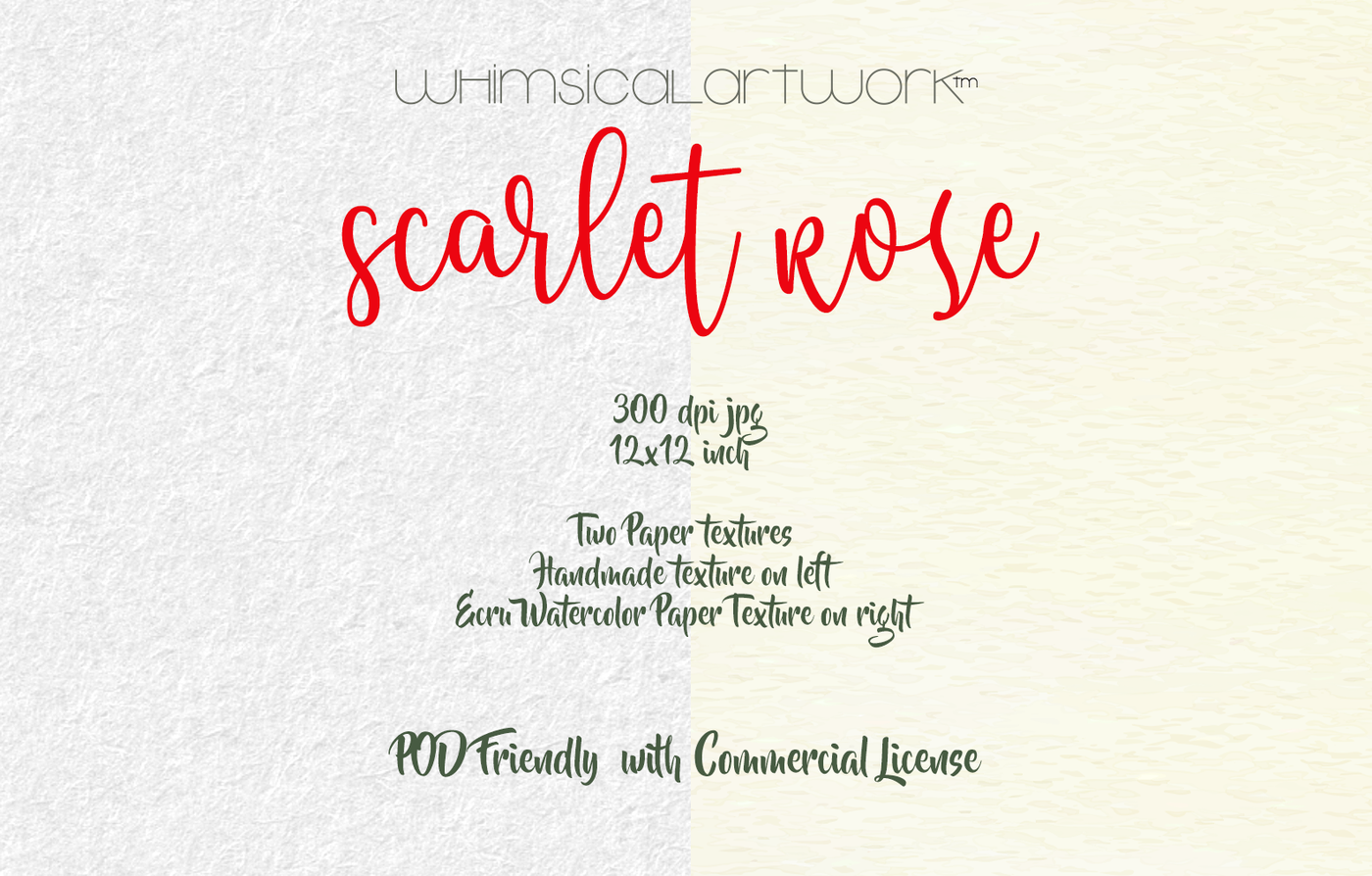 Scarlet Rose Watercolor Floral Elements By Whimsicalartwork
