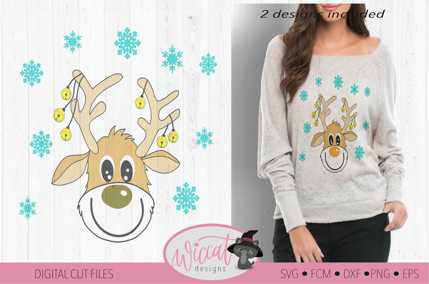 Funny Reindeer Svg Deer Svg Christmas Sweater Svg Cartoon Deer