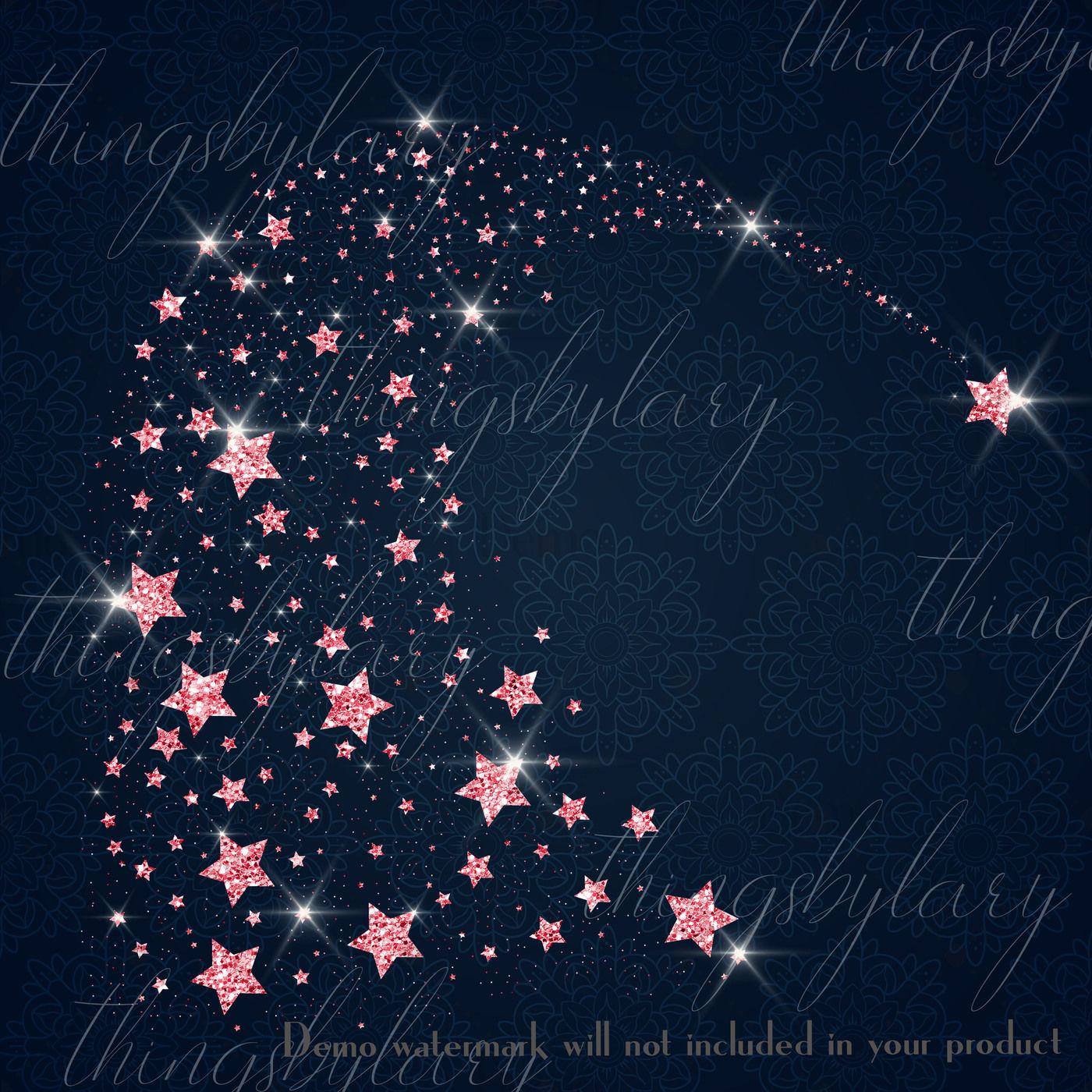 16 Glowing Glitter Comet Star Galaxy Gold Rain Comet Star Png By