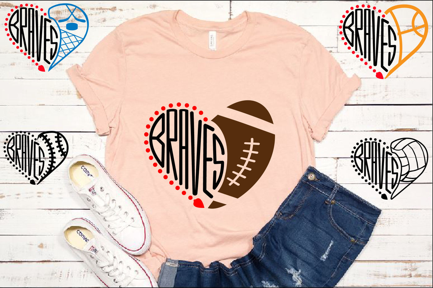 Atlanta Braves Sport Heart Svg High School Mascot Football 970s By