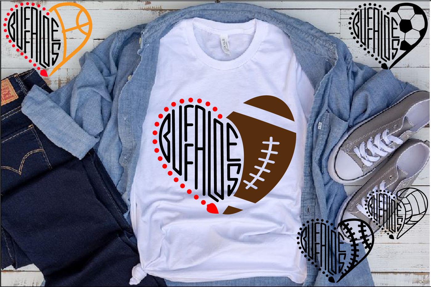 Buffaloes Sport Heart Svg High School Mascot Football Colorado
