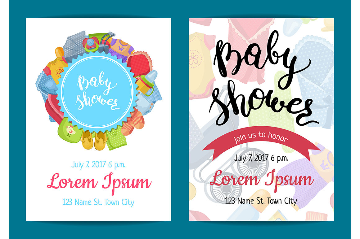 Vector Baby Shower Invitation Card Templates By Onyx