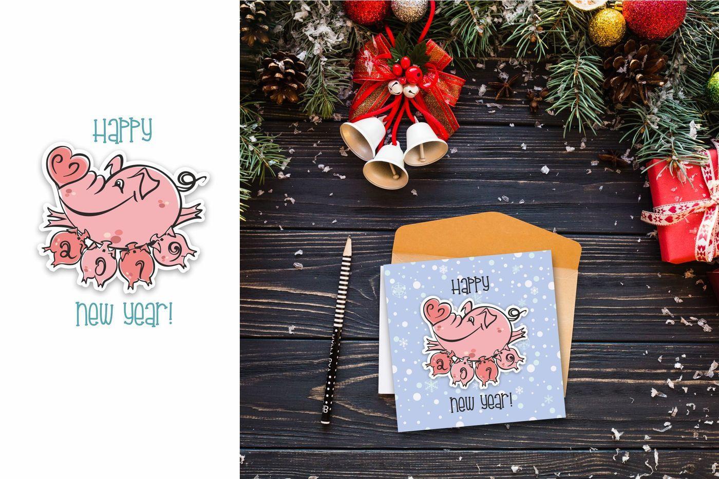 New year  2019 year of the Pig  By OlgaGriga art | TheHungryJPEG com