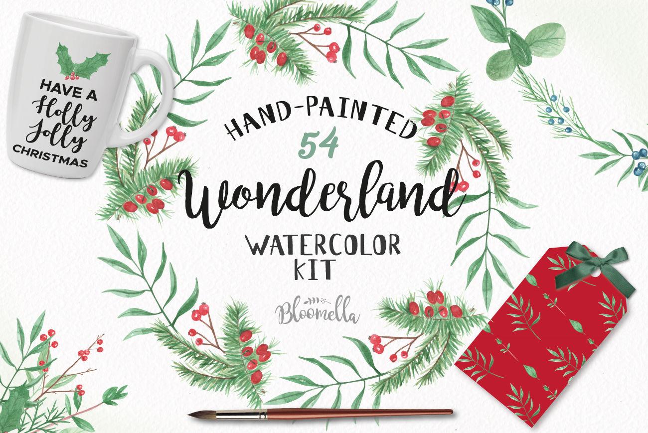Wonderland Winter Package Festive Christmas Clipart Watercolor Se