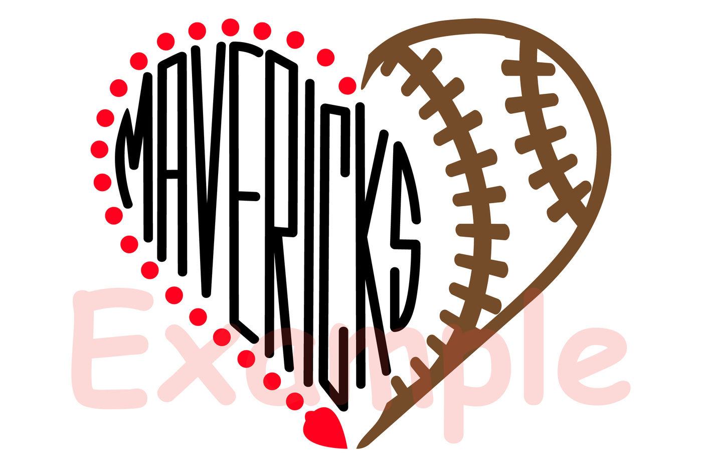Mavericks Sport Heart Svg Football Baseball Basketball Soccer 980s