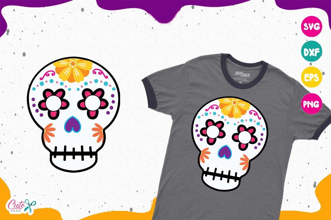 Sugar Skull Day Of The Dead Mexico Halloween Svg Files By Cute