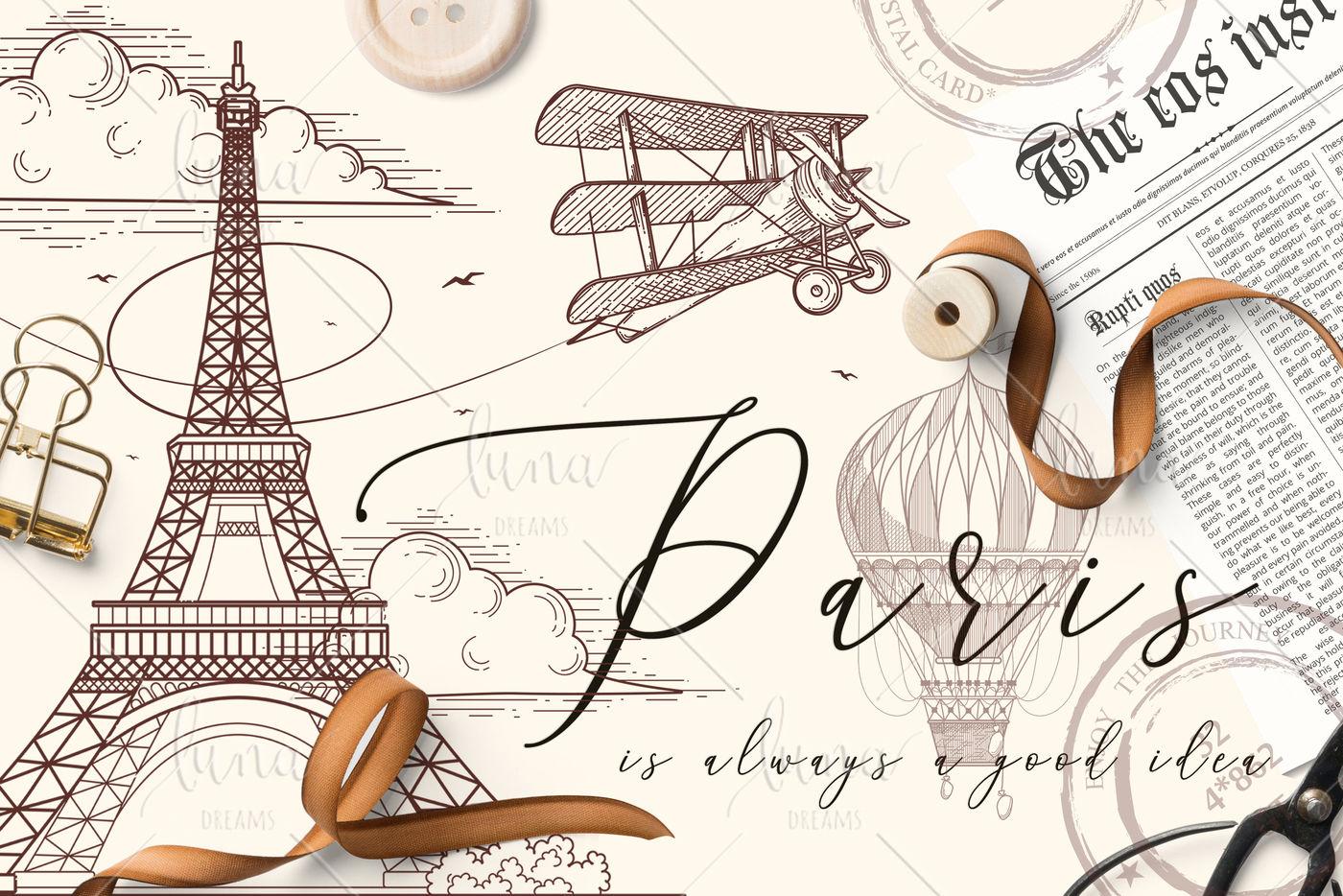 Paris Vintage Set By Pushka Daria Thehungryjpeg Com