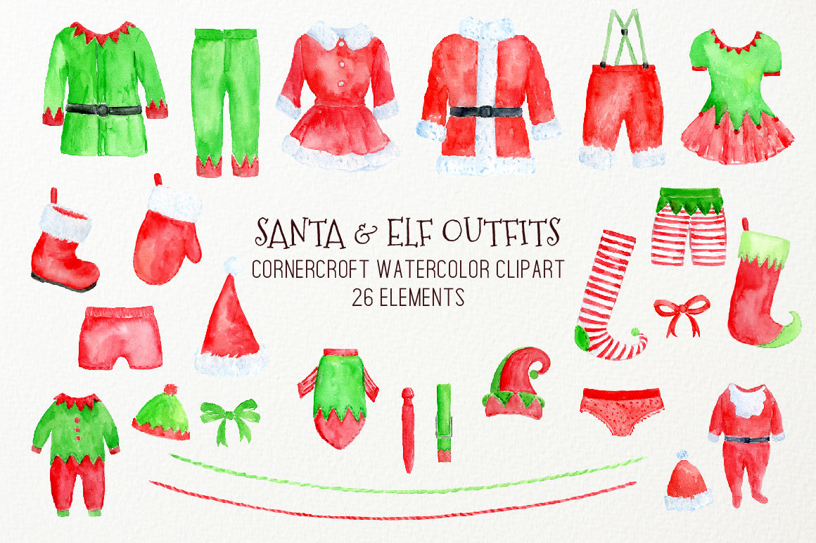 Watercolor Christmas Santa Claus And Elf Outfit Clipart By