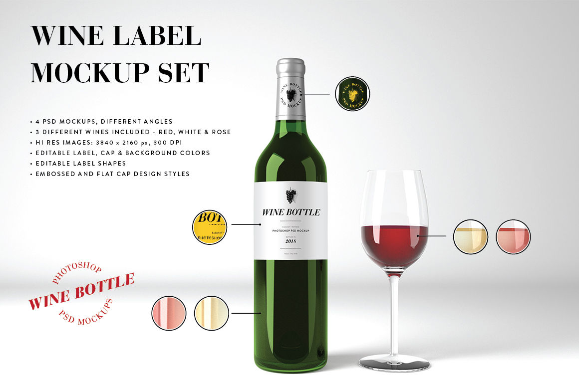 Download Red Frosted Glass Bottle With Wine Mockup Yellow Images