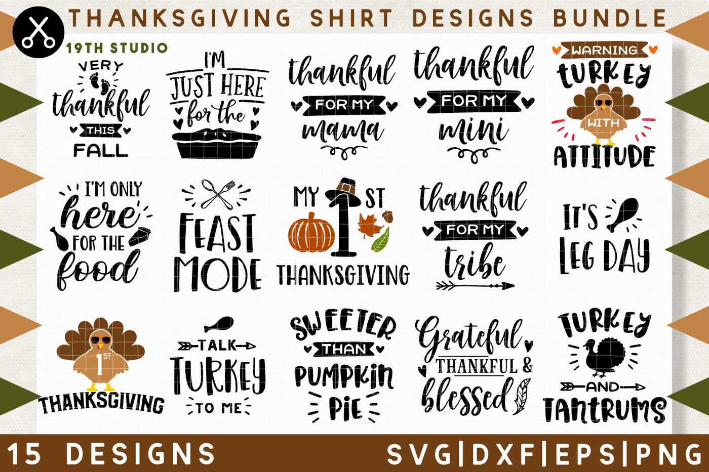 Thanksgiving Shirt Designs Bundle M38 Svg Dxf Eps Png By 19th