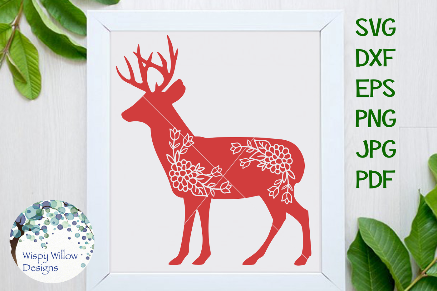 Floral Deer Svg Dxf Png Jpg Eps Pdf By Wispy Willow Designs