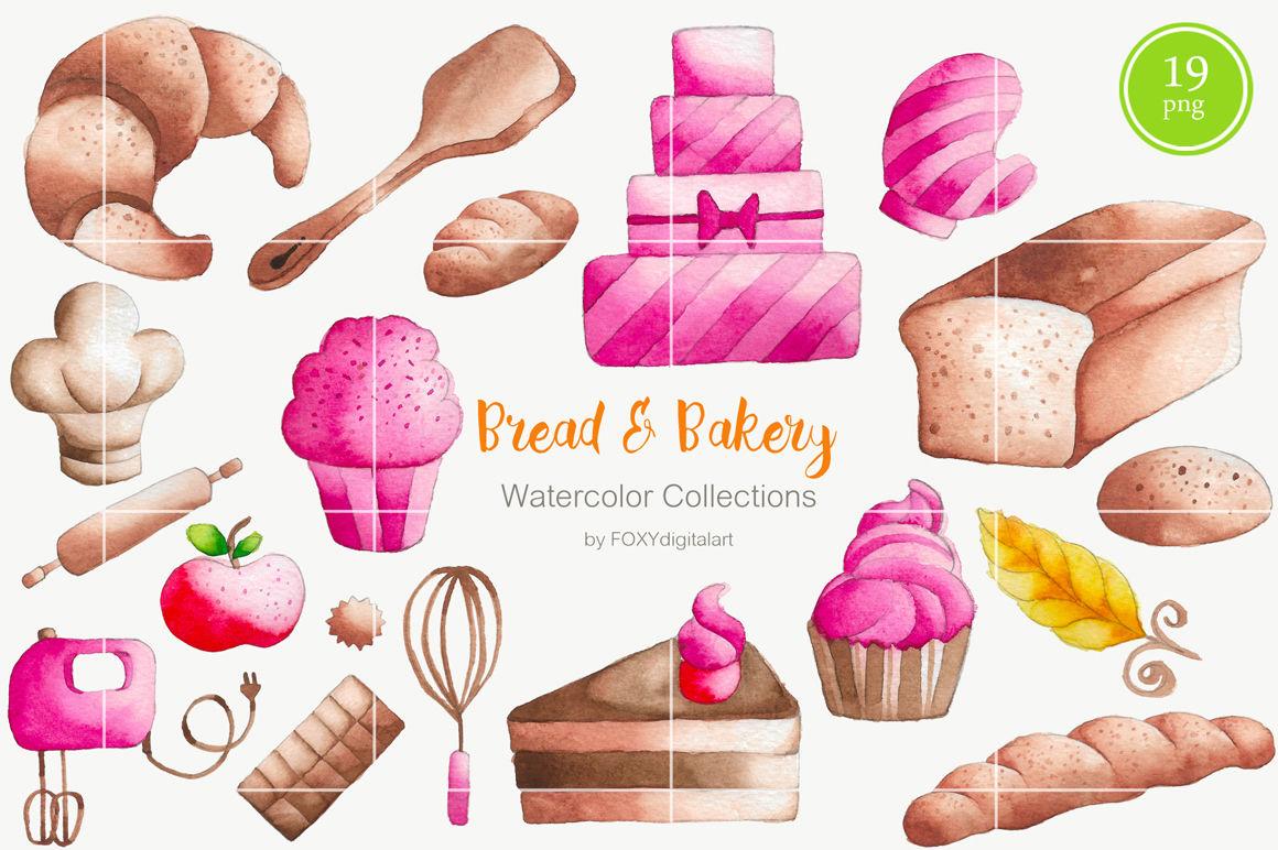 Bread Bakery Cake Watercolor Clipart By Foxydigitalart Thehungryjpeg Com