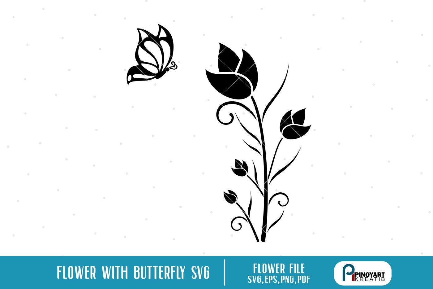 Flower Svg Butterfly Svg Flower Svg File Floral Svg File By