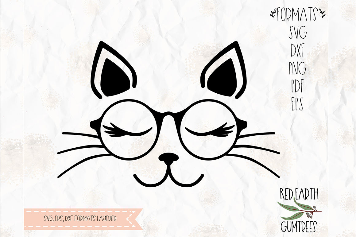 Cat With Lashes And Eyeglasses Svg Png Eps Dxf Pdf Formats By