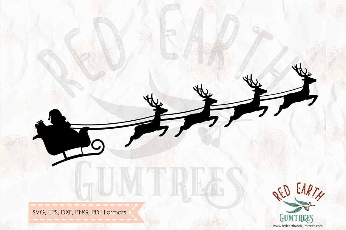Christmas Santa Clause On Sleigh Svg Png Eps Dxf Pdf Formats